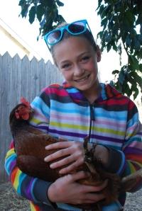 Ni høner i bakgården.